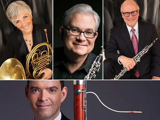 Faculty members pictured with their respective instruments