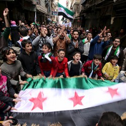 Image of anti-government protest in Syria