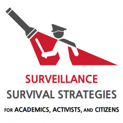 "Logo of a flashlight shining on a policeman. Caption reads: ""Surveillance Survival Strategies for Academics, Activists, and Citizens""."