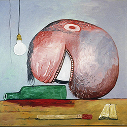 Philip Guston, Head and Bottle, dated 1978.