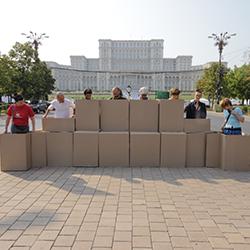 "Image: Alexandra Pirici, ""If You Don't Want Us, We Want You"", 2011, Bucharest. Photo Alexandru Patatics"