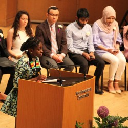 student speaking at baccalaureate