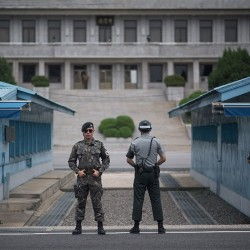 Soldiers at the DMZ border on the Korean Peninsula